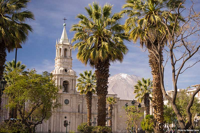 The Cathedral and volcano in Arequipa