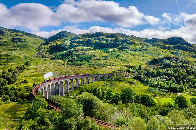 The Glenfinnan Viaduct - West Highland Line in Scotland