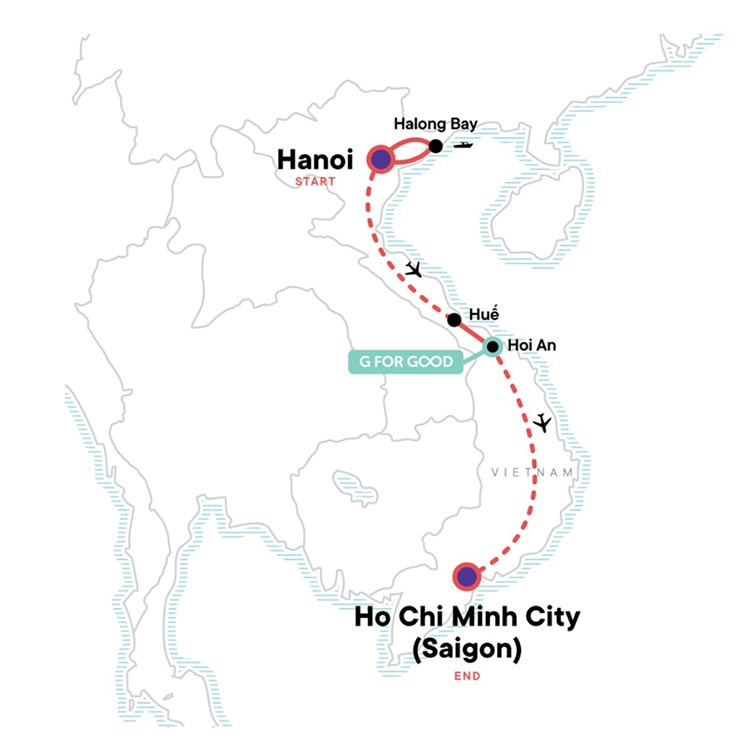 Map showing Vietnam Itinerary - From G Adventures