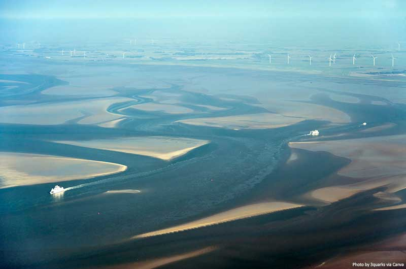 Aerial view from the Schleswig-Holstein Wadden Sea National Park