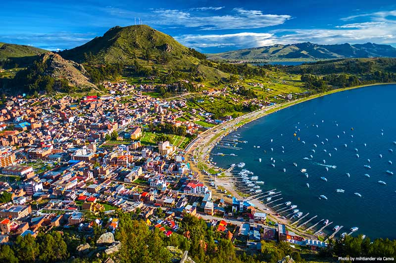 Aerial view of Copacabana in Bolivia