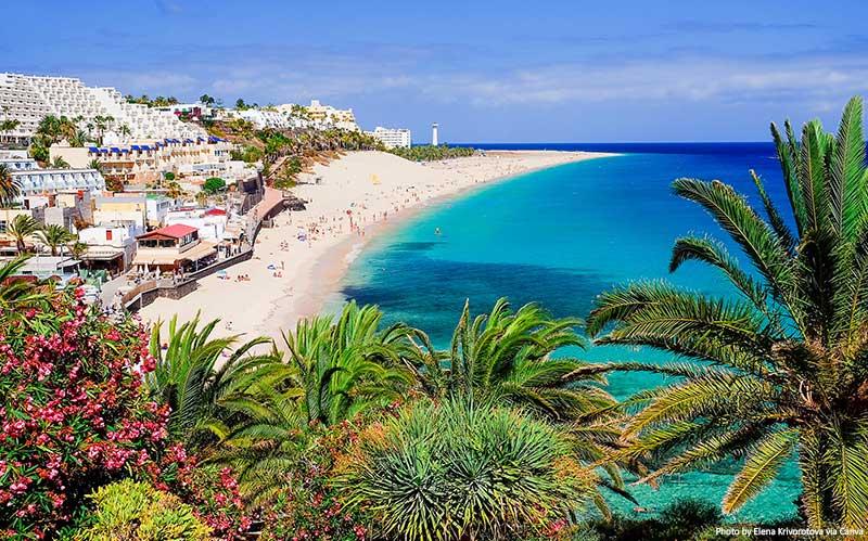 Beach Playa de Morro Jable on Fuerteventura