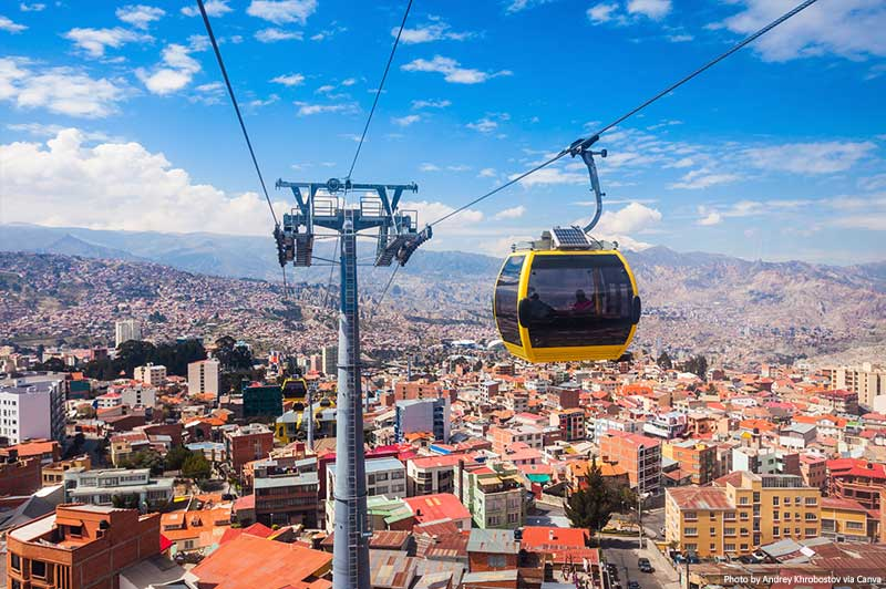 Cable Car and skyline in La Paz
