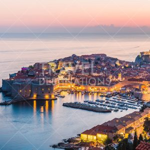Beautiful views of Dubrovnik Old Town at night