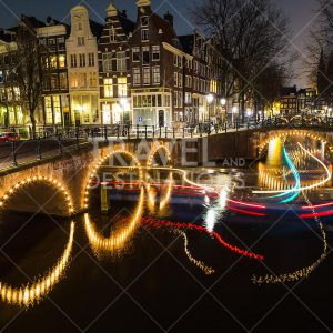 Amsterdam at night with light trails