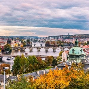 Colourful Autumn view of the Prague skyline