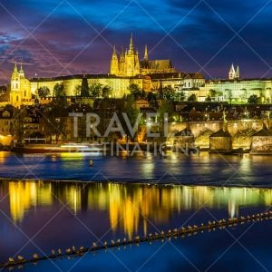 Prague Skyline at Night with Reflections