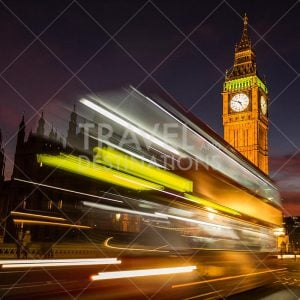 Houses of Parliament at Night with Light Trails