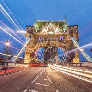 Tower Bridge at Night with Light Trails