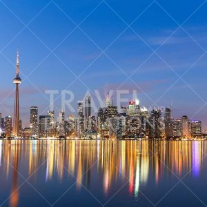 Toronto skyline at night with reflections
