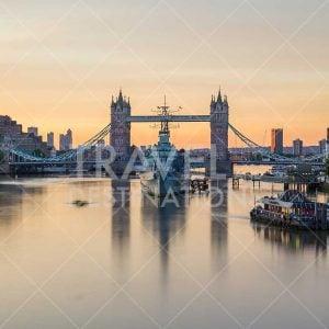 Tower Bridge in London at Sunrise