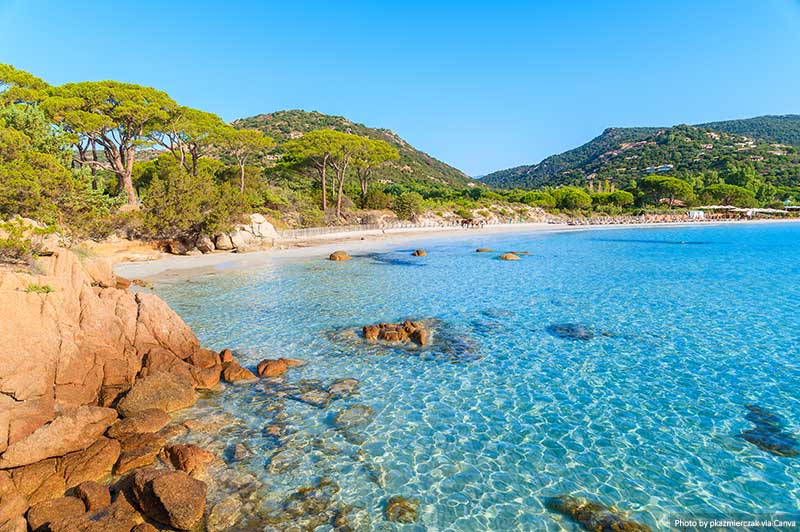 Palombaggia beach on Corsica island, France