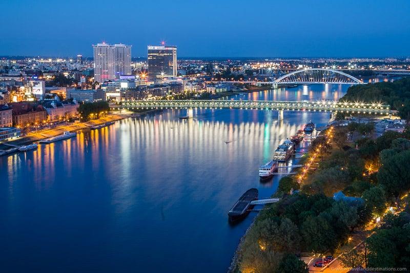 River Danube in Bratislava at night