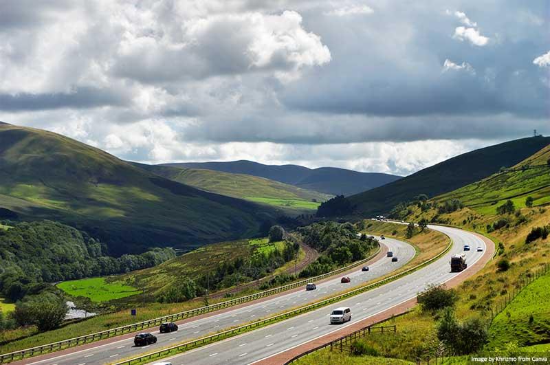 Motorway in Cumbria, England