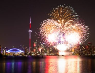 Toronto and fireworks from the Toronto Islands