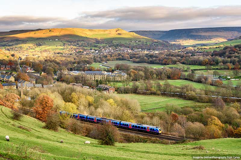 Trains in England with the countryside