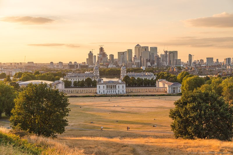 Views from Greenwich Park at sunset
