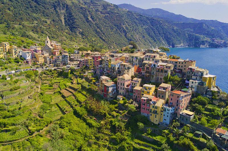 Aerial views of Corniglia