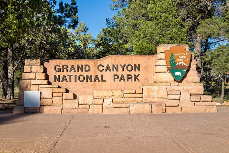 Entrance sign to the Grand Canyon National Park