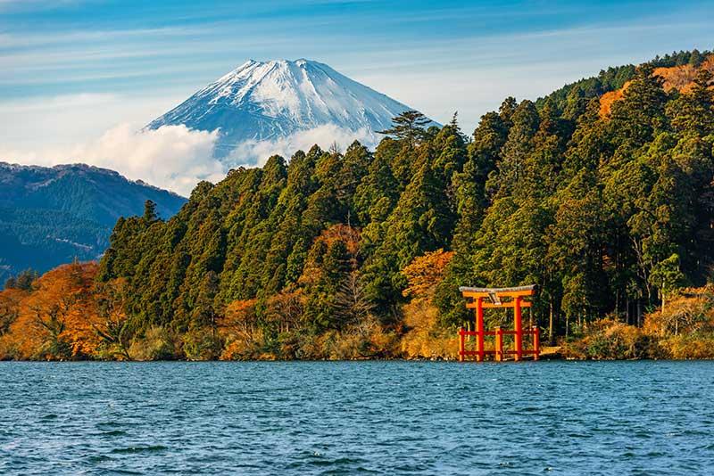 Mount Fuji from Lake Ashinoko and showing Hakone Shrine