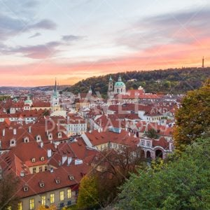 Prague Mala Strana (Lesser Town) skyline at sunset