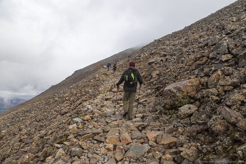 Steep rocky sections towards the top of Ben Nevis