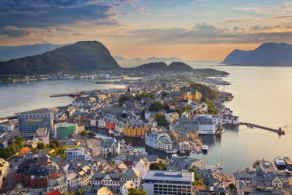 Alesund skyline in Norway