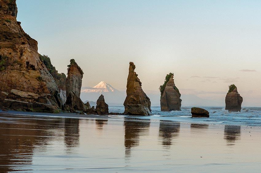 Three Sisters Beach and Mount Taranaki