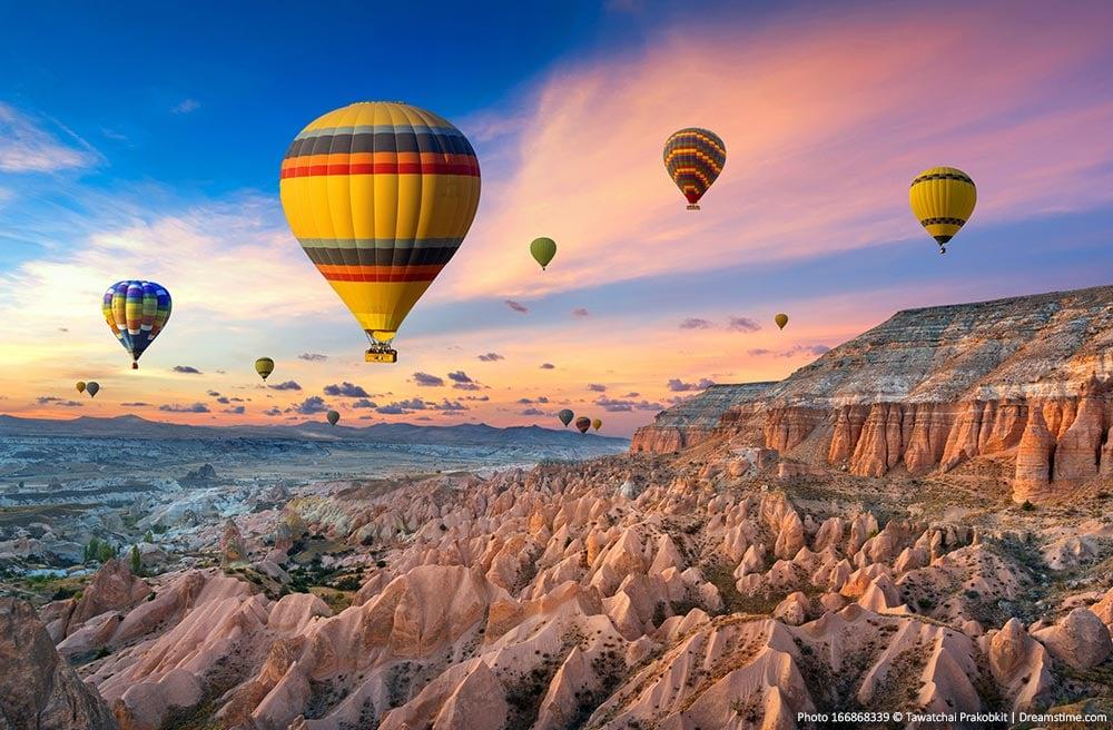 Cappadocia landscape and balloons