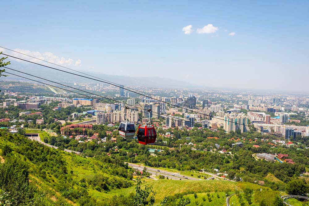 Almaty skyline and cable car