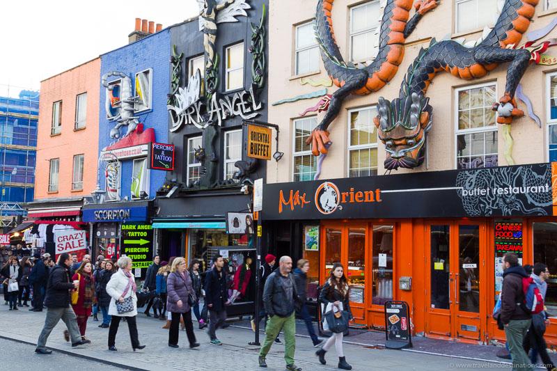Camden Tower shops with strange facades