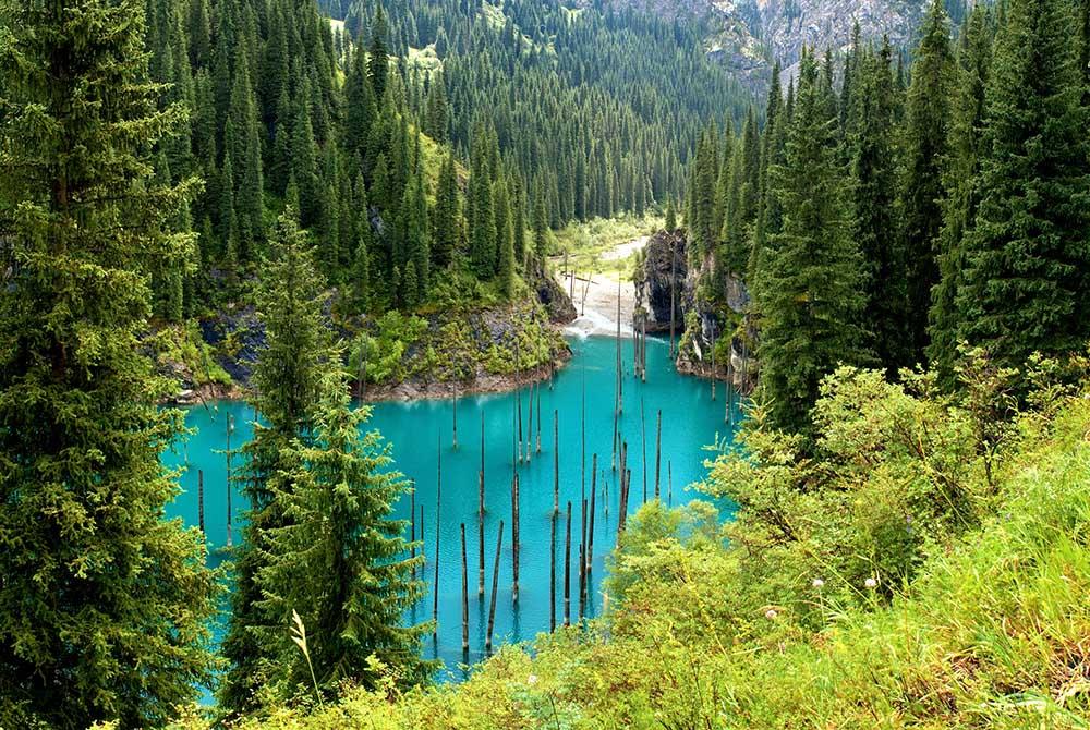 Lake Kaindy in Kazakhstan