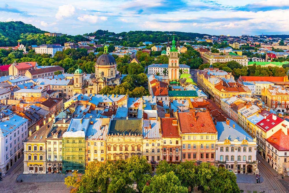 Skyline view of Old Town Lviv
