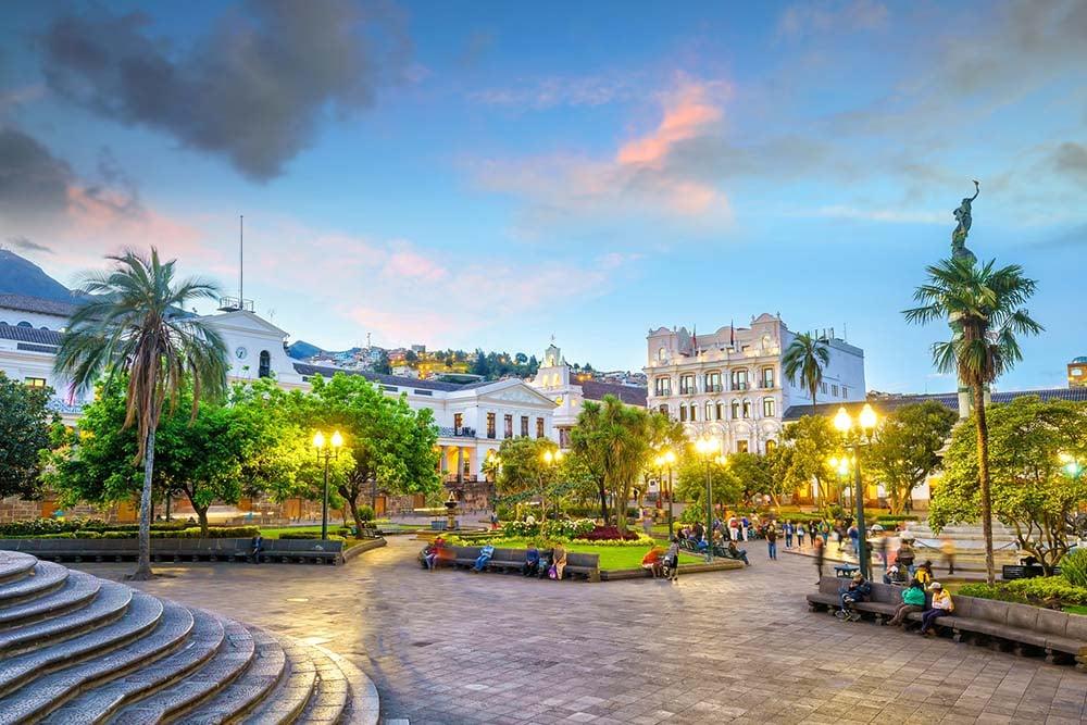 Plaza Grande in Quito at night