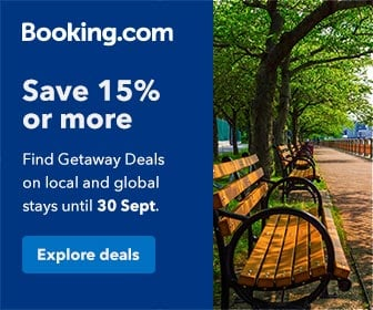 booking.com getaway day - save 15%