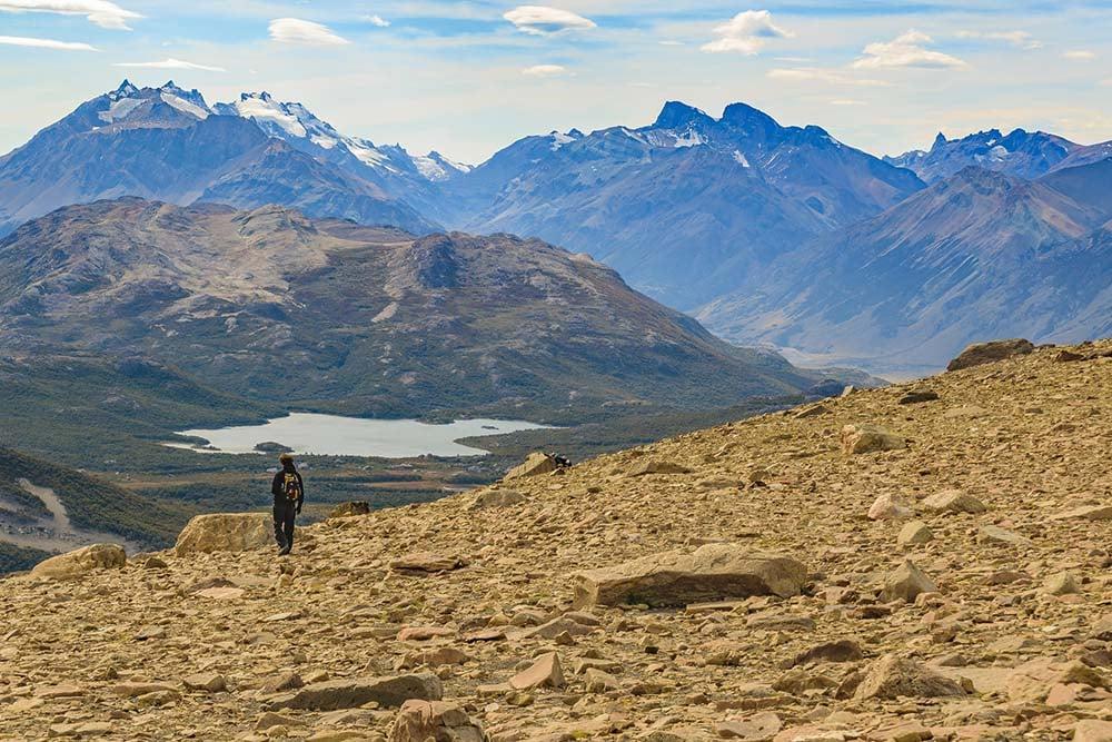 Los Glaciares landscape and a hiker