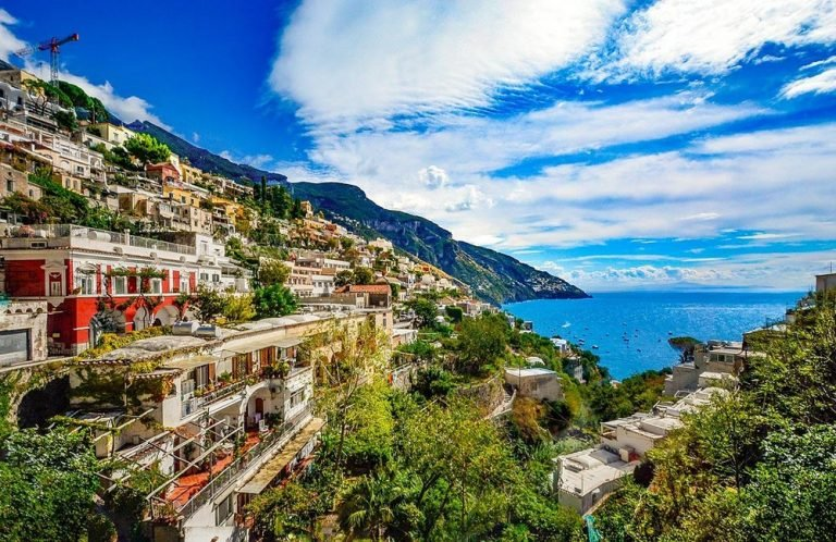 View of part of the Amalfi Coast in Italy