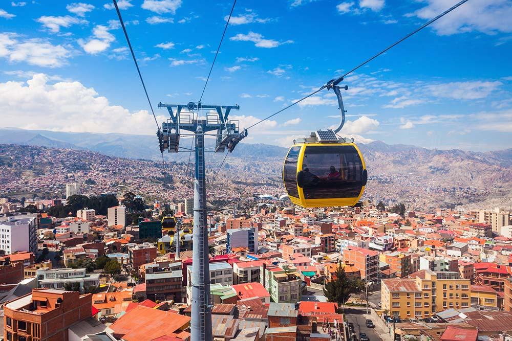 La Paz skyline and cable car