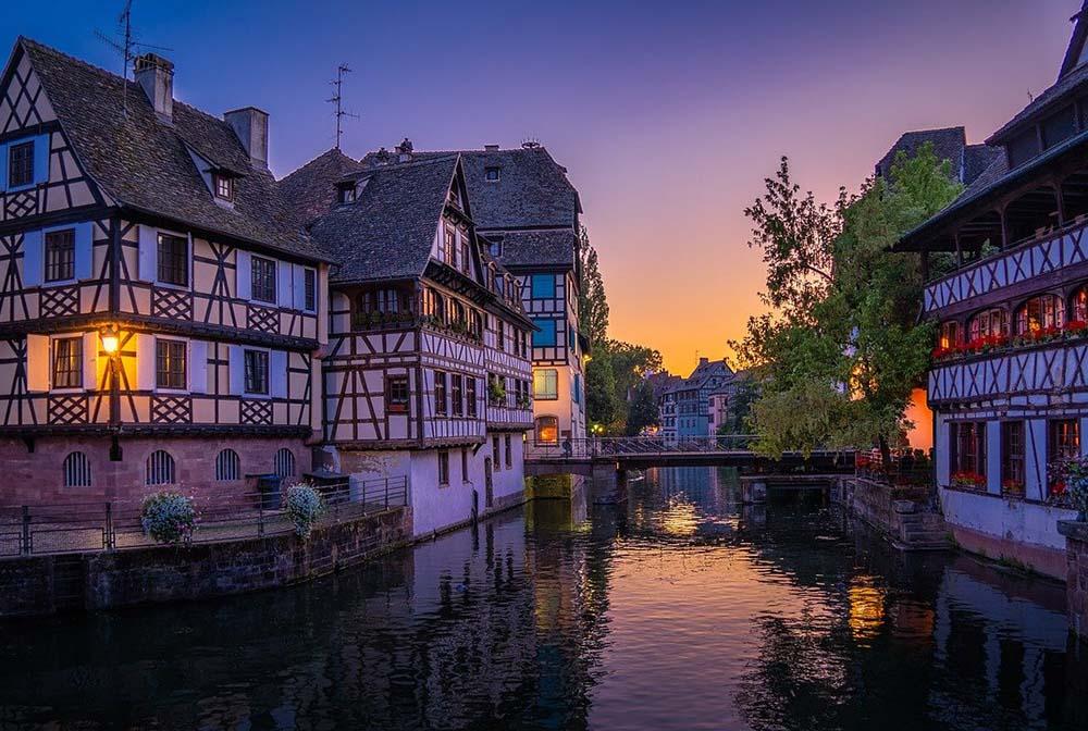 Strasbourg in France at sunset
