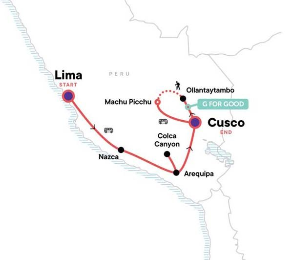 Map showing Peru Itinerary example
