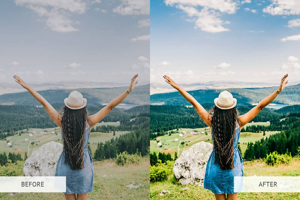 Lifestyle Preset showing Before and After - Free Preset Pack
