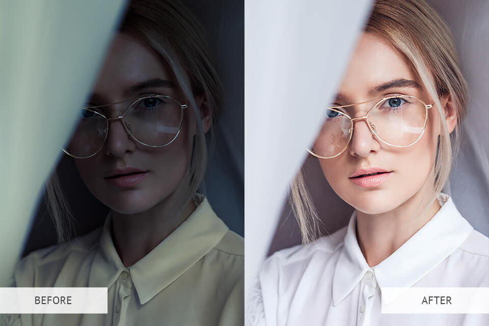 Portrait presets - example before and after image
