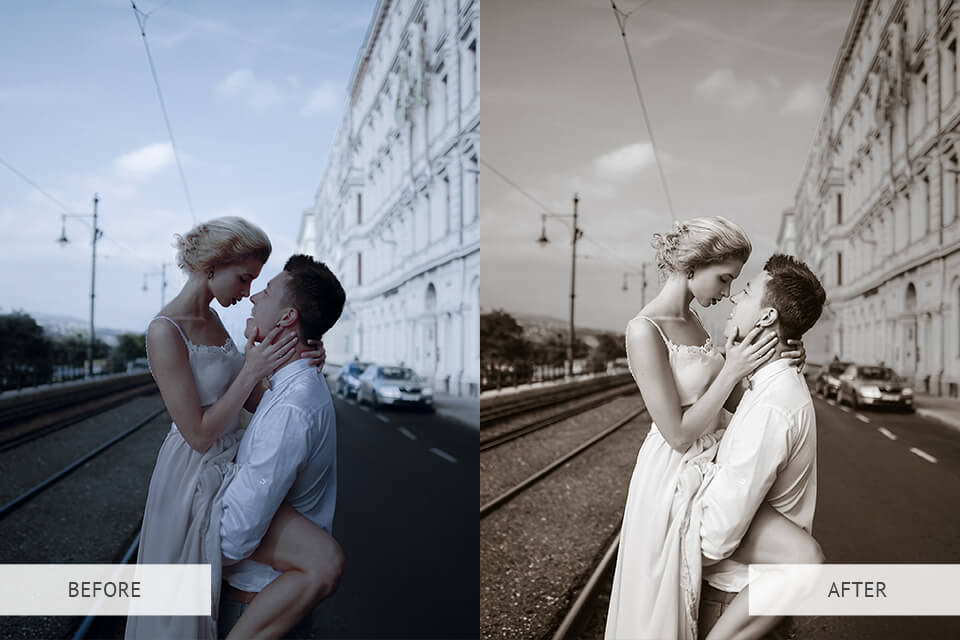 Sepia presets - example before and after image