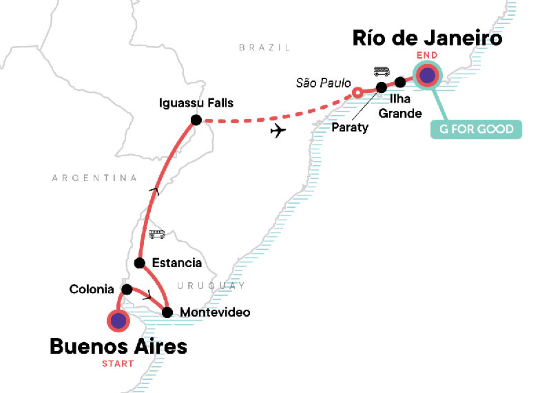 Map showing Brazil Itinerary example