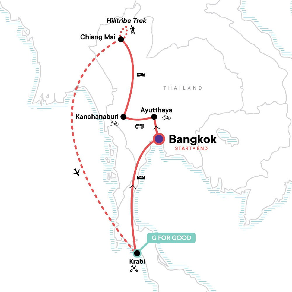 Map showing Thailand itinerary - From G Adventures