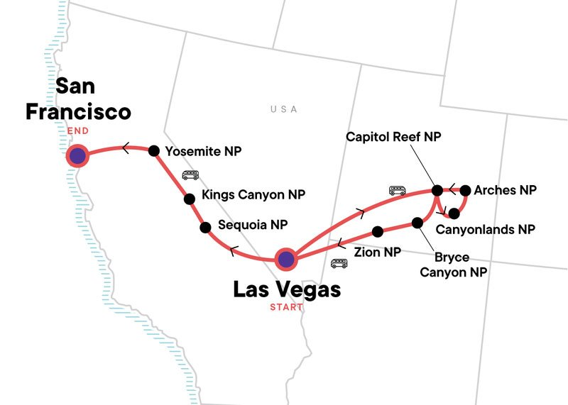 Map showing USA Itinerary - From G Adventures
