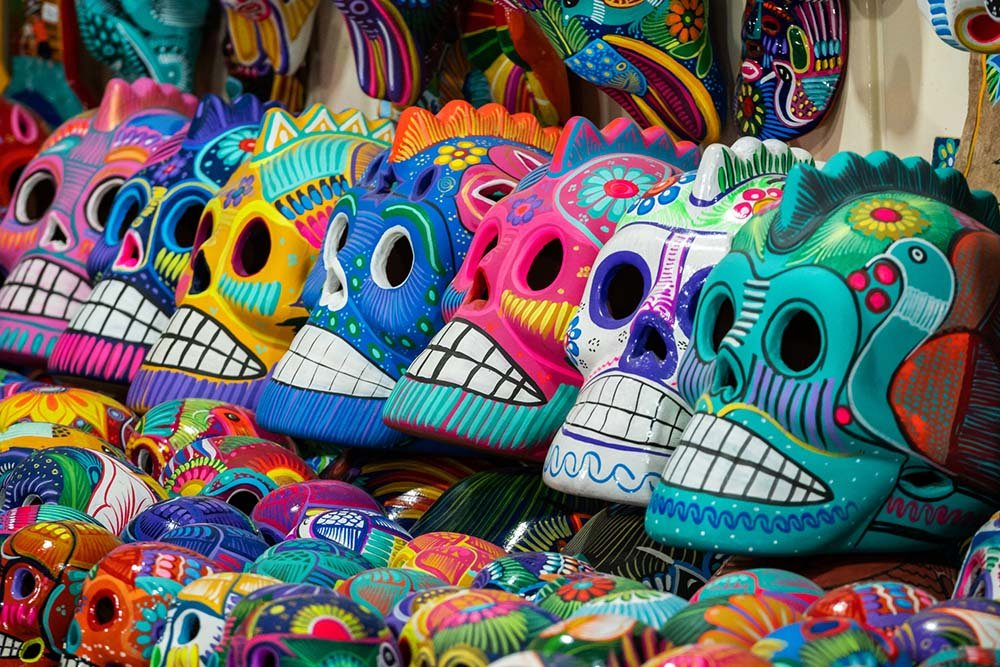 Painted skulls at market in Mexico
