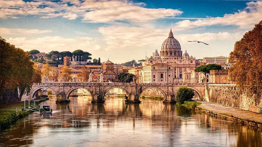 Views along River Tiber towards Vatican