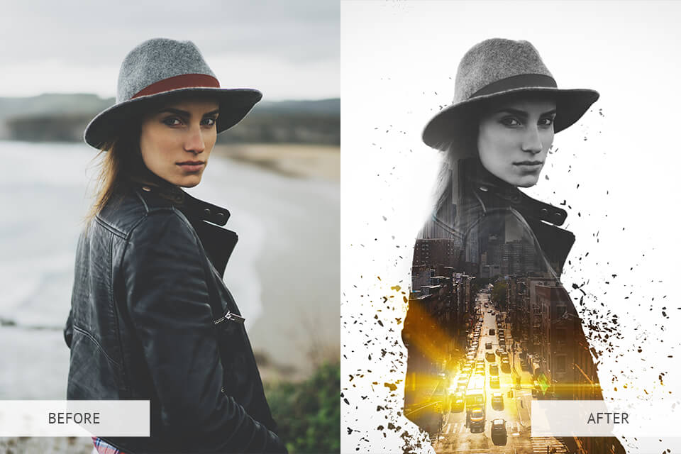 Advanced Double Exposure PS Actions Example