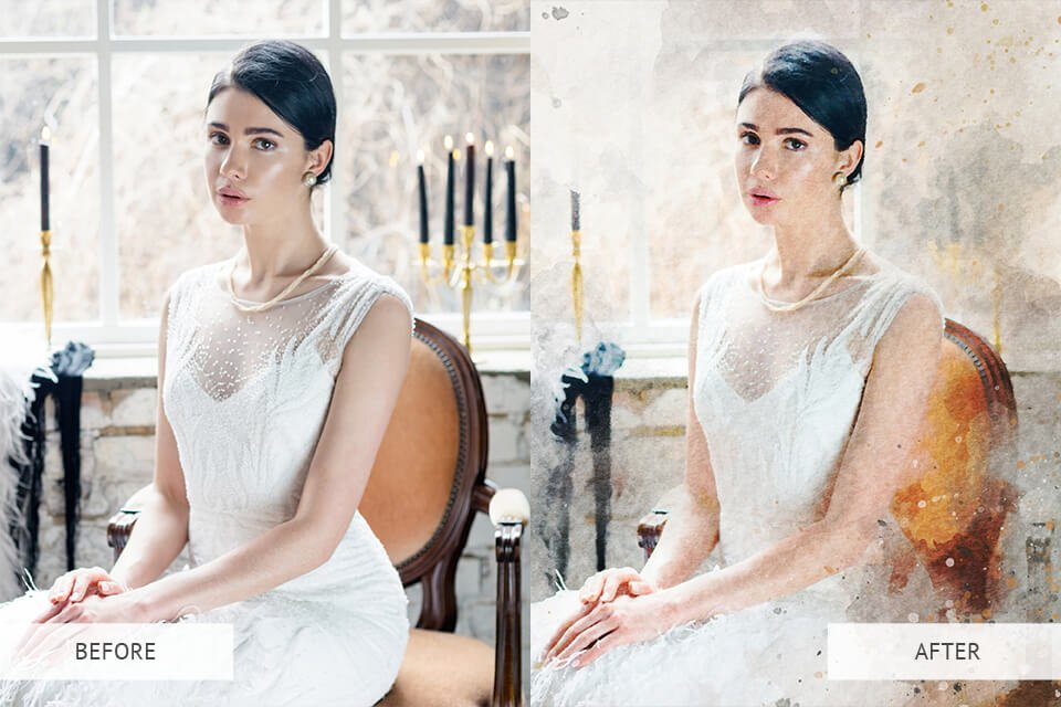Watercolour Effect PS Actions Example